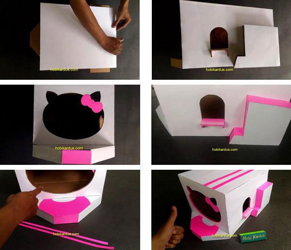 lapisan kertas asturo rumah kucing dari kardus